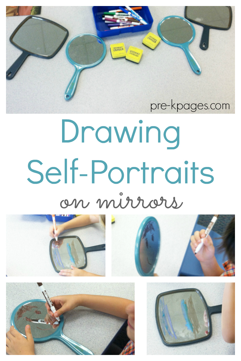 drawing self portraits on mirrors for preschool