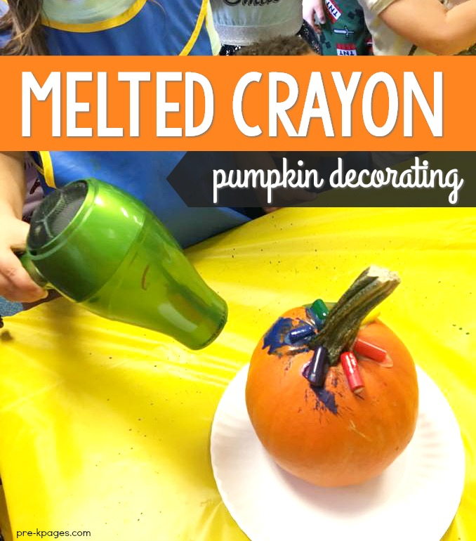 Crayon Melted Pumpkin Craft for Halloween