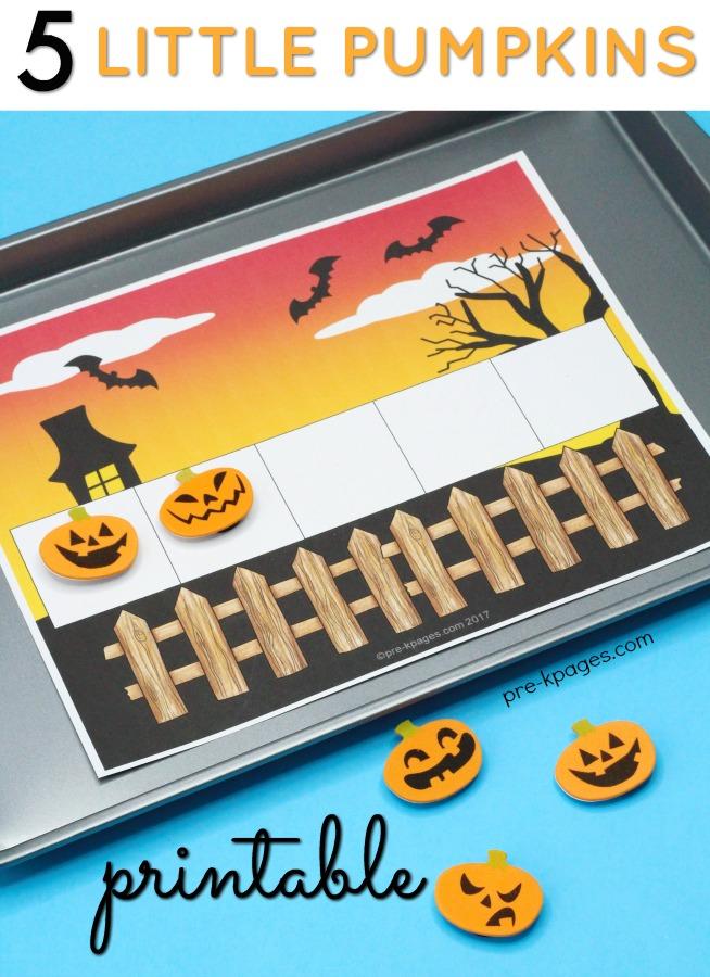 Five Little Pumpkins Five Frame Printable