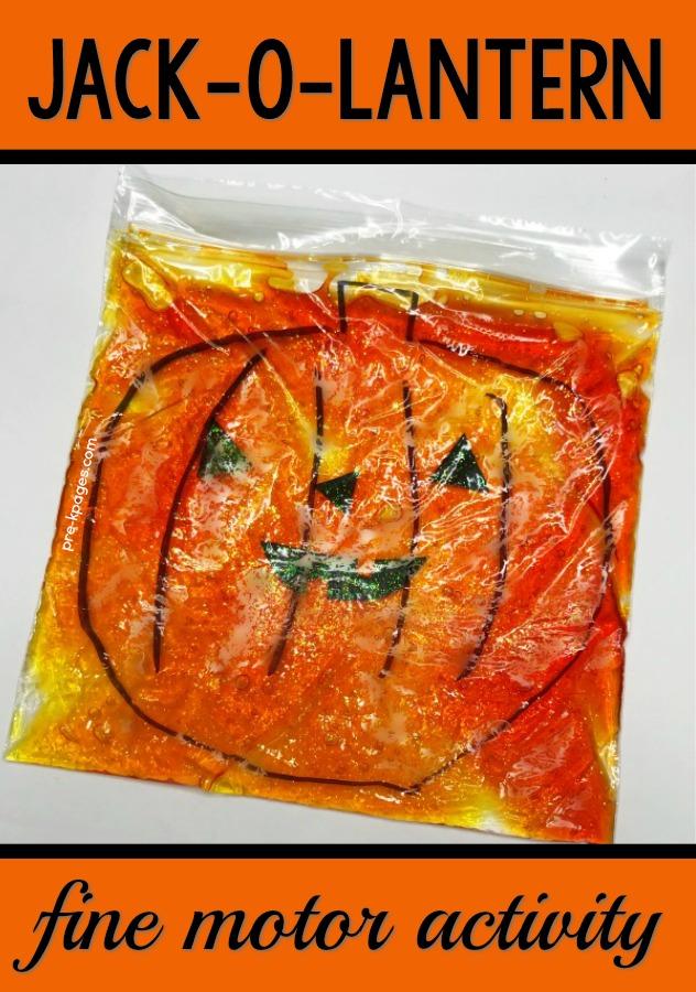Jack-O-Lantern Sensory Bag for Preschoolers