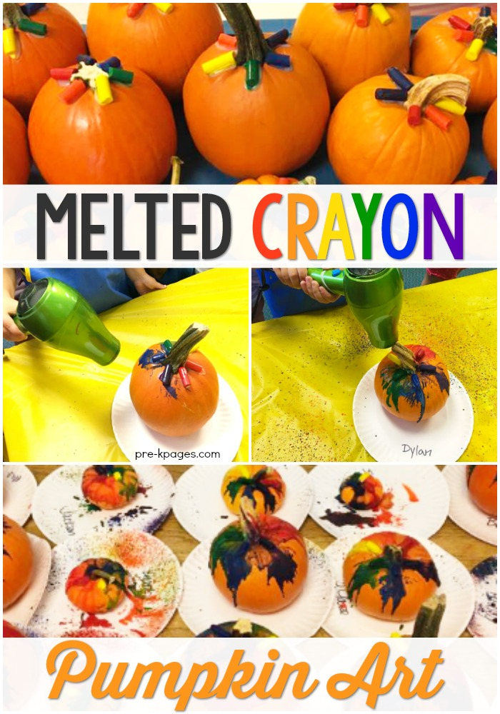 Melted Crayon Pumpkin Decorating