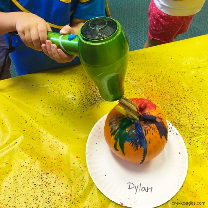 Melting Crayons with Hairdryer on Pumpkins for Halloween