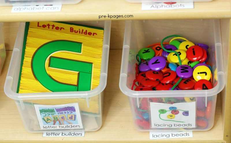 Preschool Literacy Center Letter Beads and Letter Builders