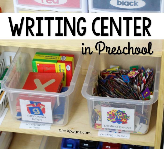 Preschool Writing Center Set Up in the Classroom