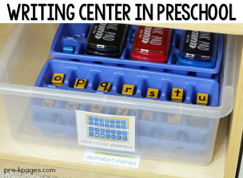 Writing Center in Preschool Alphabet Stamps