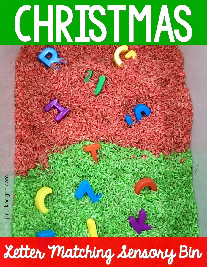 Christmas Letter Matching Sensory Bin Printable for Preschool