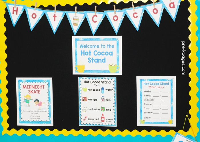 Hot Cocoa Dramatic Play Printables for Preschool and Kindergarten