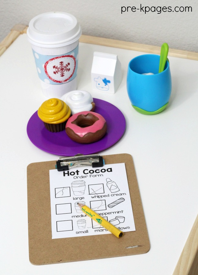 Hot Cocoa Pretend Play in Preschool