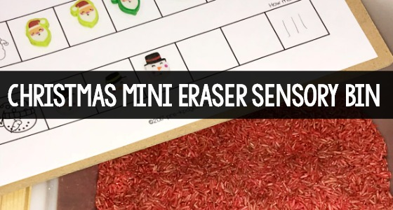 Mini Eraser Sensory Bin Counting Activity for Christmas