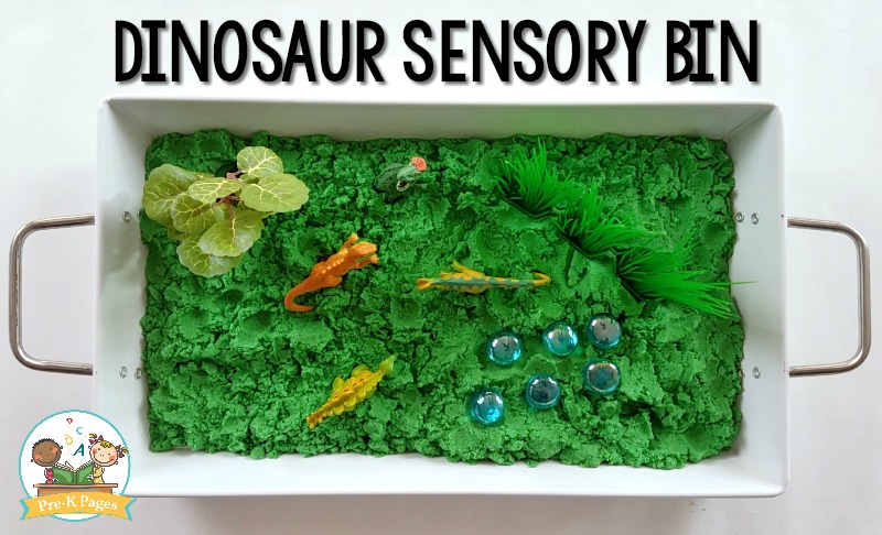 Dinosaur Sensory Bin Kinetic Sand Recipe