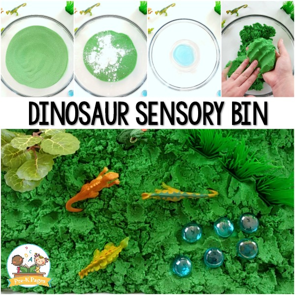 Dinosaur Sensory Bin Kinetic Sand