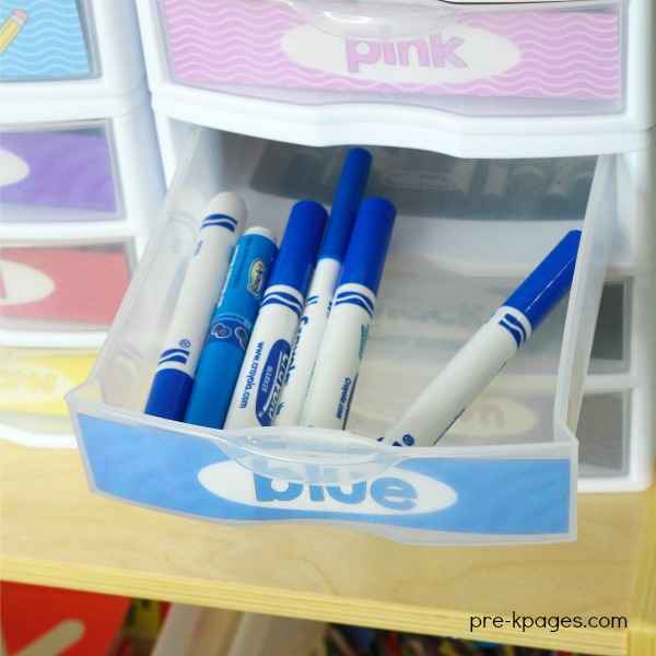 Marker Storage in Plastic Drawers