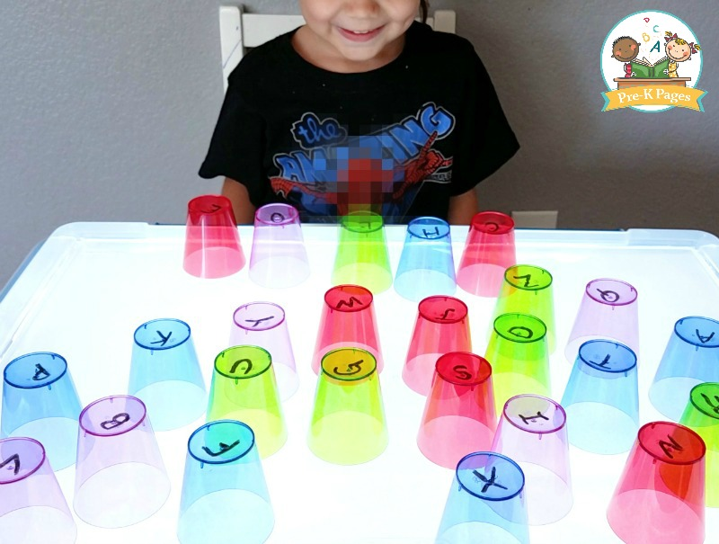 Playing with Cups on the Light Table