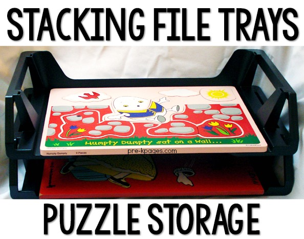 Stacking File Trays for Preschool Puzzle Storage