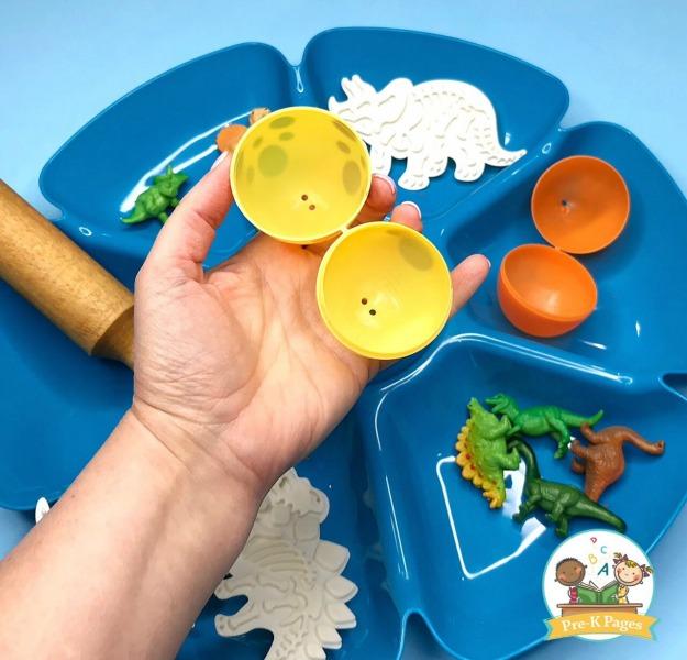Use Plastic Eggs to Make Play Dough Dinosaur Eggs