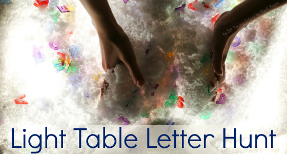 letters light table winter