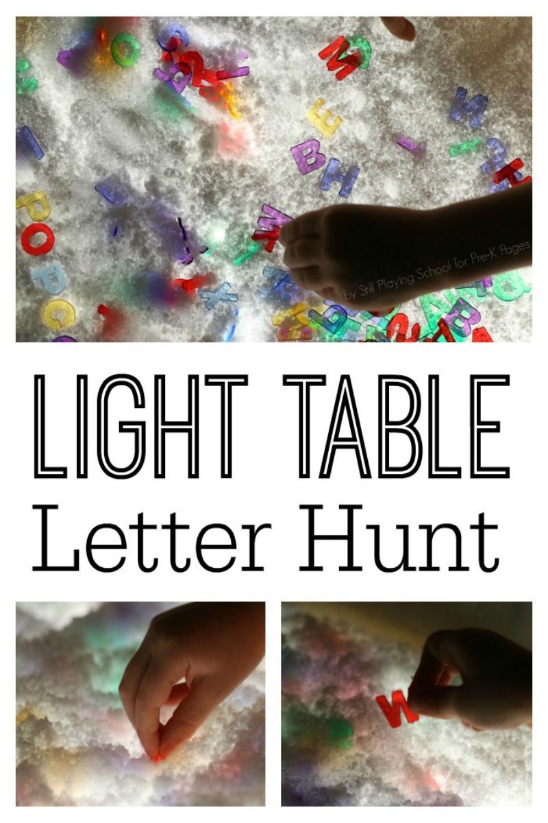 light table letter hunt for preschool