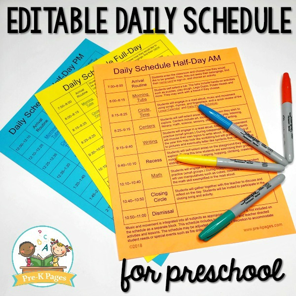 Daily schedule and visual schedules for preschool editable preschool daily schedule pronofoot35fo Choice Image