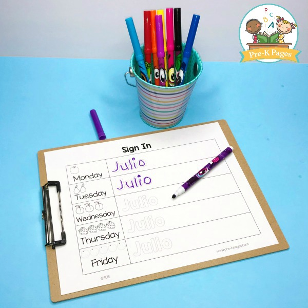 Editable Sign In Sheets for PreKindergarten