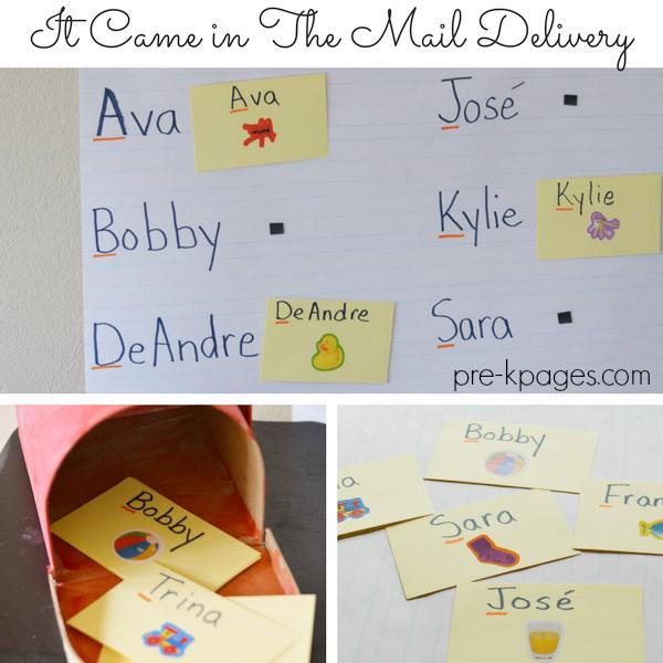 literacy mail names activity preschool