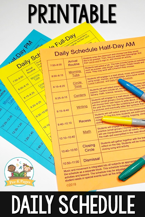 Preschool daily schedule and visual schedules for Preschool classroom schedule template