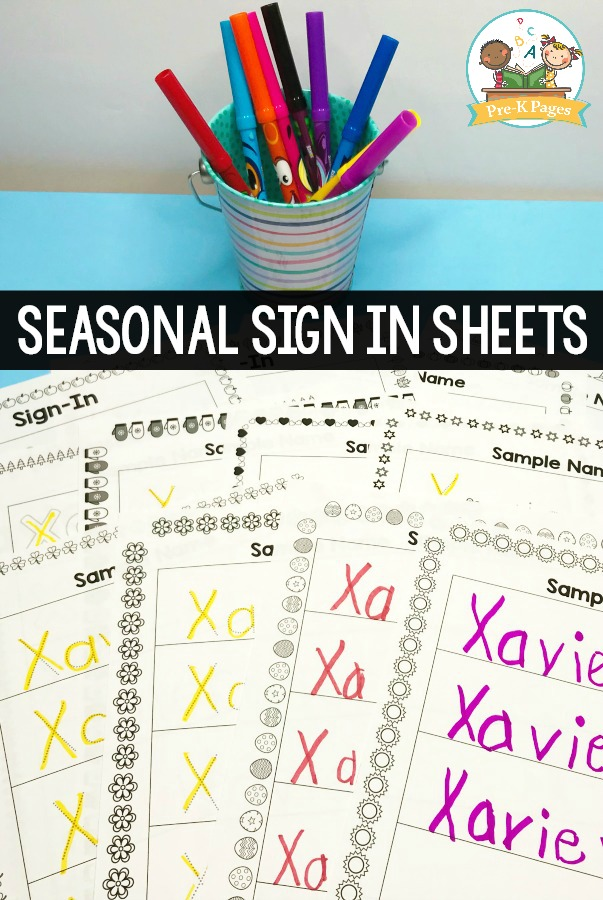 Seasonal Sign In Sheets for Preschool