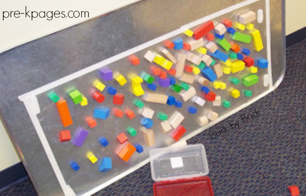 sticky paper covered with blocks