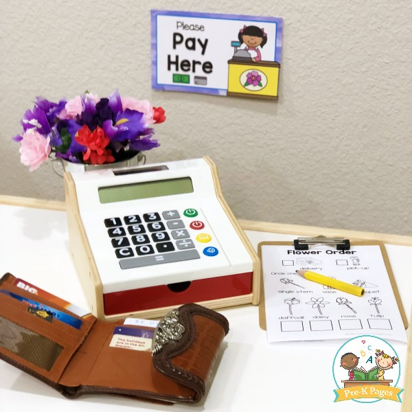 Pay Here Sign for Dramatic Play Flower Shop