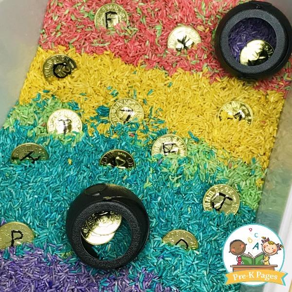 Rainbow Rice Sensory Table for St Patricks Day