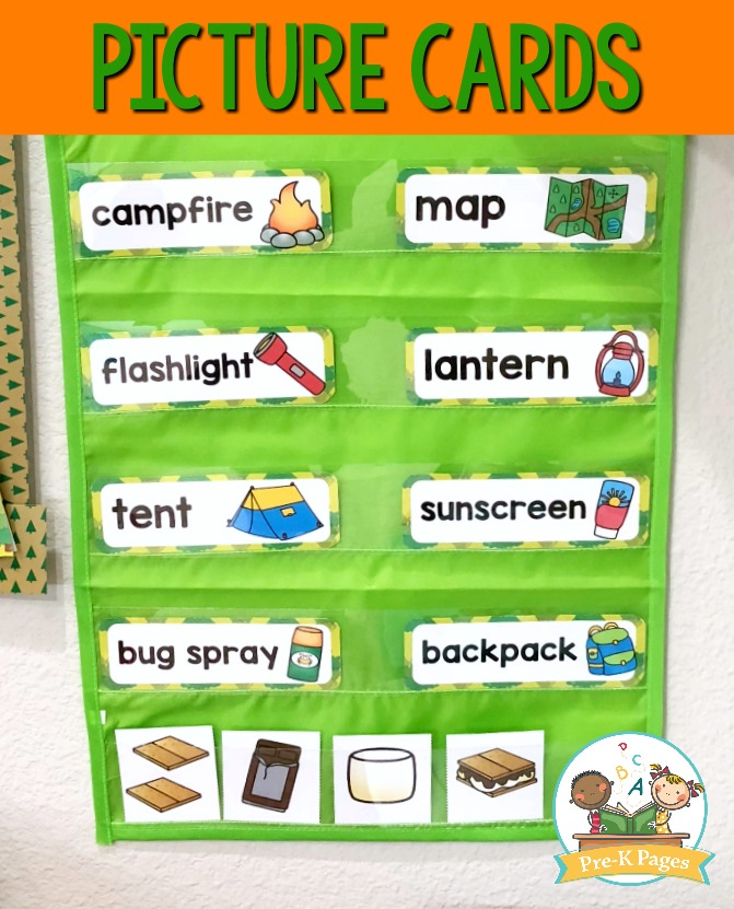 Printable Picture Cards for Camping Theme