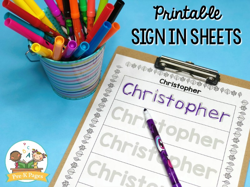 Printable Sign In Sheets for Preschool