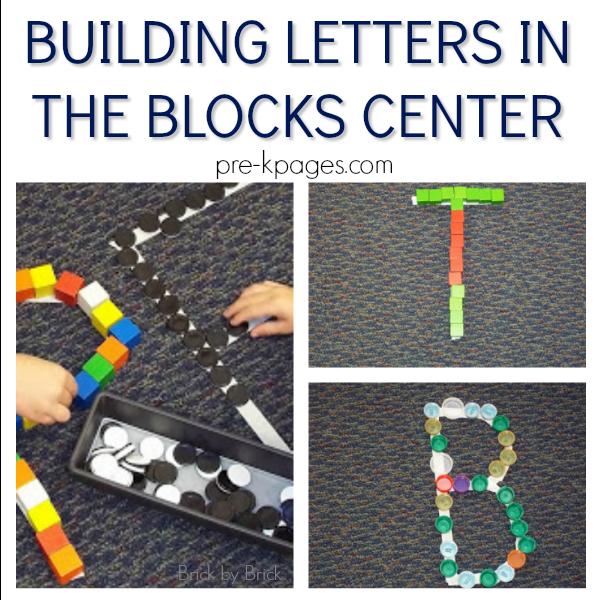 building alphabet pre-k block center
