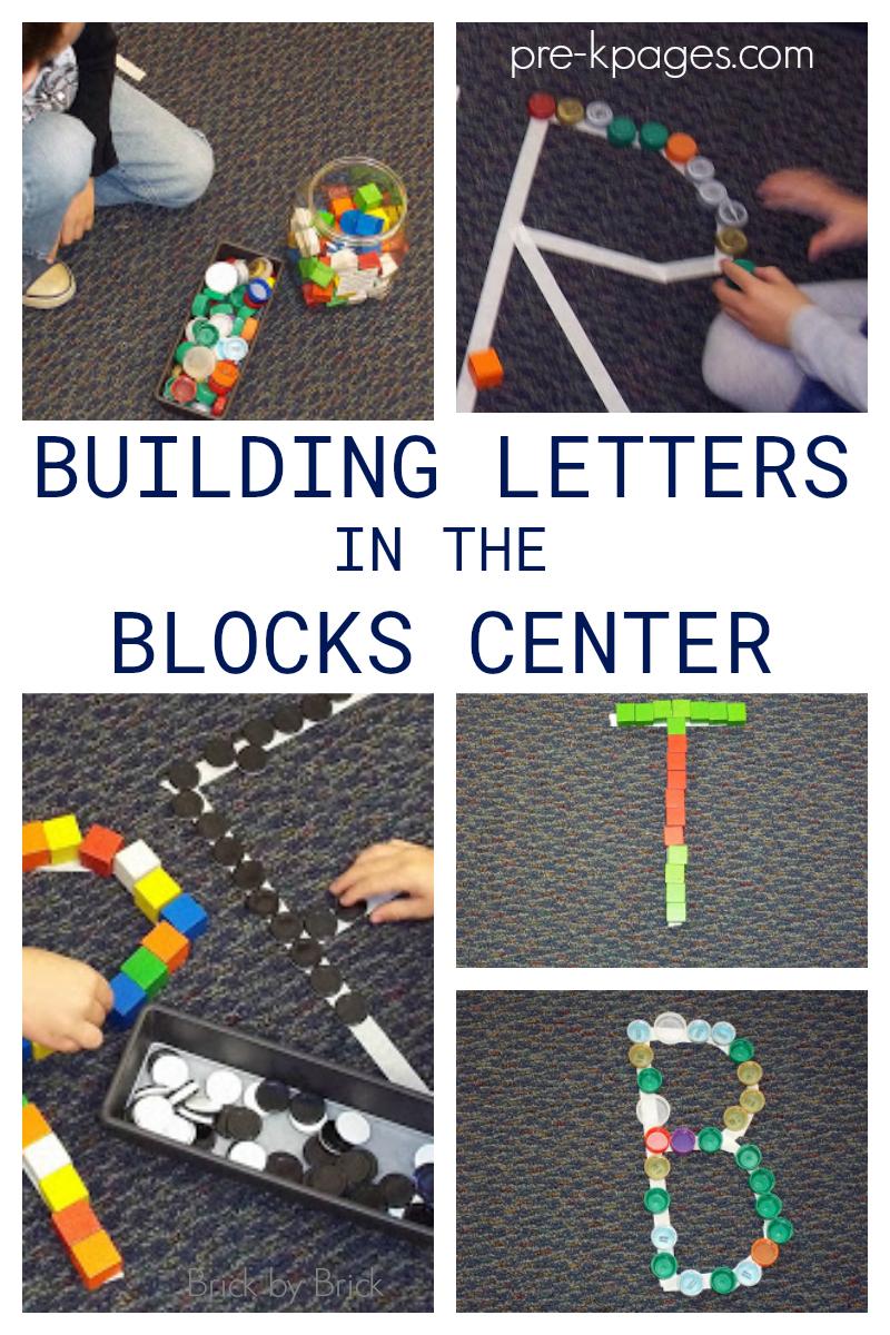 building letters in blocks center for preschool