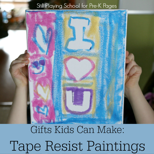 tape resist paintings mothers day fathers day pre-k
