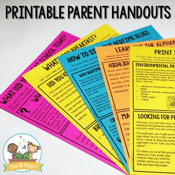 Editable Parent Handouts for Preschool