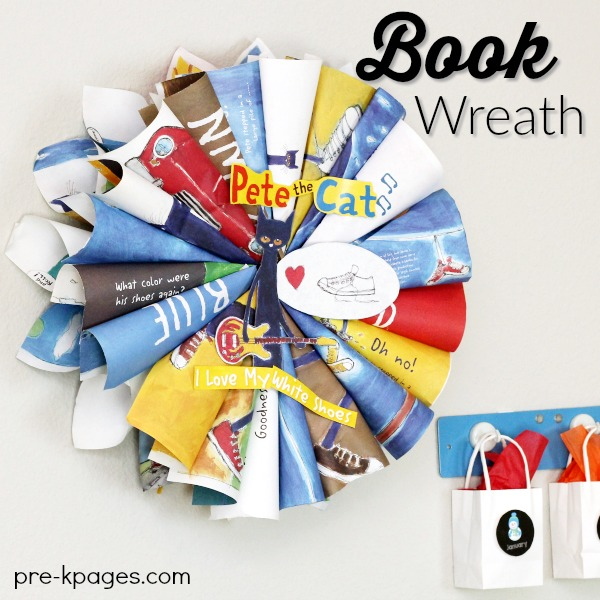 Pete the Cat Book Page Wreath Display