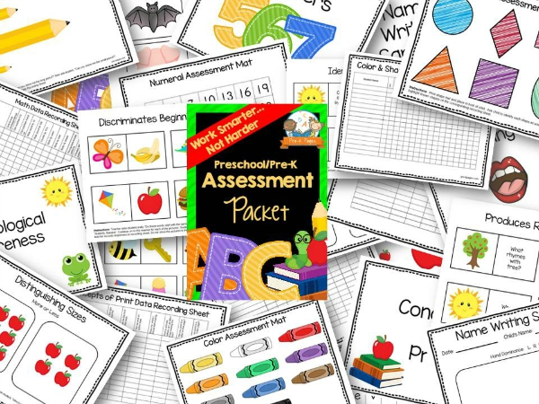 Preschool Assessment Packet with Black Doodle Borders