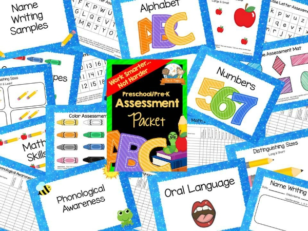 Preschool Assessment Packet with Blue Border
