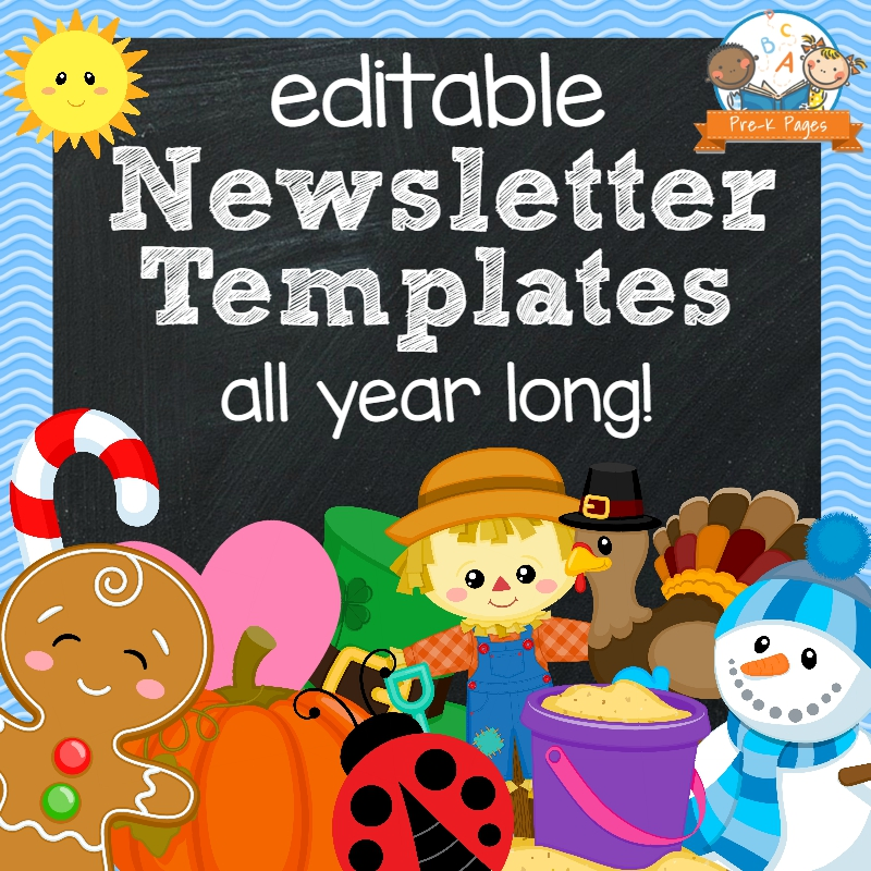 Classroom newsletters pre k pages for Free editable newsletter templates for teachers