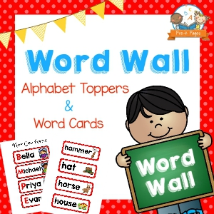 How to use a word wall printable word wall kit for preschool with red borders sciox Gallery
