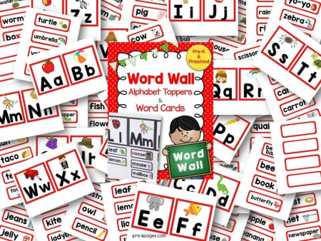 Red Printable Word Wall for Pre-K and Kindergarten