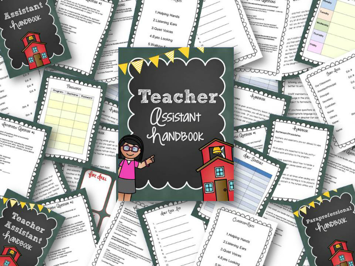 Printable Teacher Assistant Handbook for Preschool