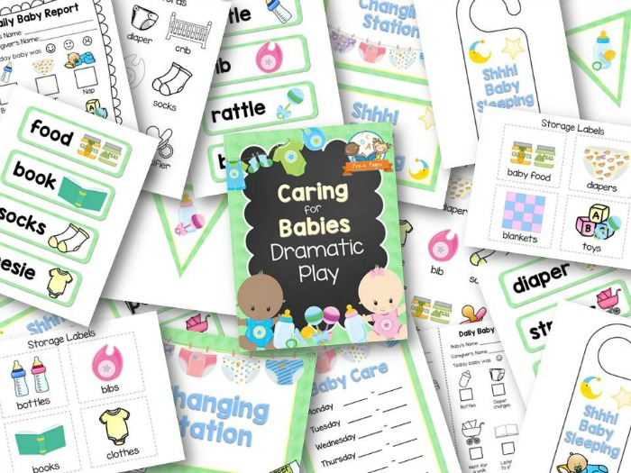 Dramatic Play Baby Nursery Printable Props for Pretend Play