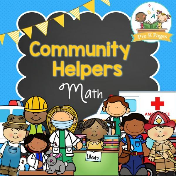 Community Helper Math on Preschool Color Theme