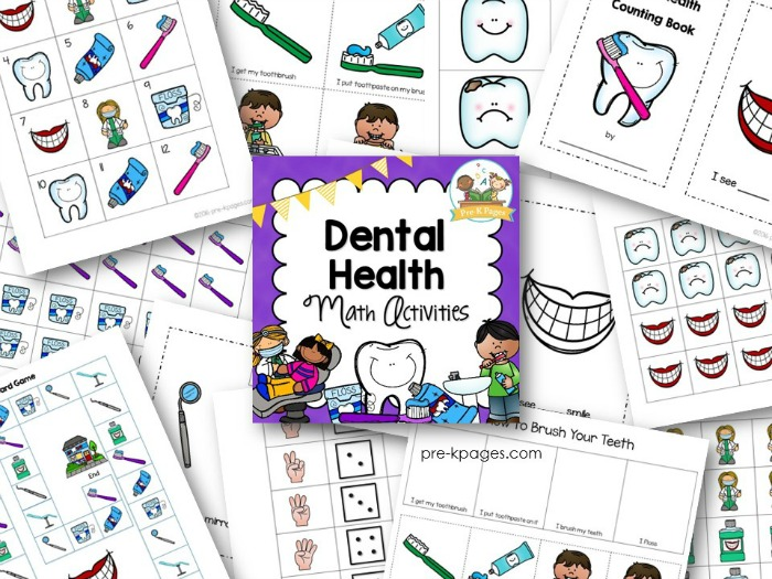 Number Names Worksheets dental health printables : Dental Health Math Activities - Pre-K Pages