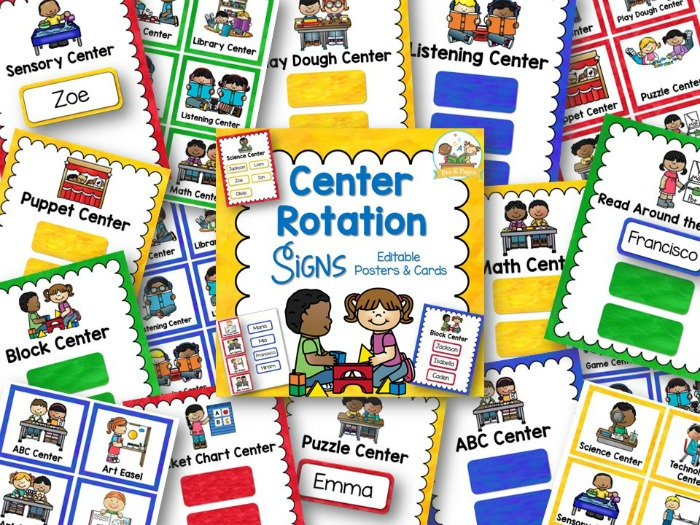 Printable Center Rotation Signs for Preschool