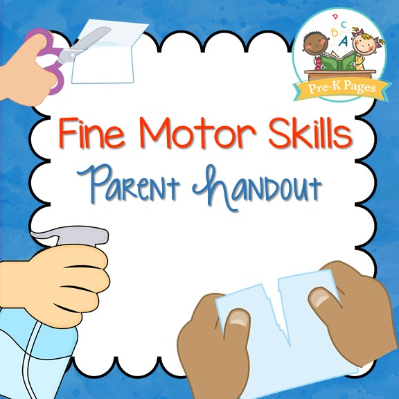 Fine Motor Skills Parent Handout on Thanksgiving Math Pages