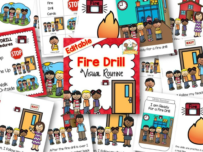 Printable Fire Drill Visual Routine and Social Story for Preschool and Kindergarten