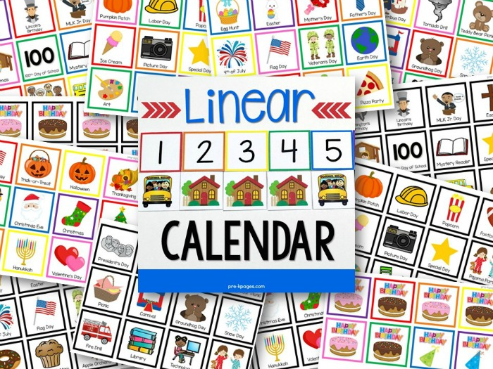Linear Calendar Preschool : Linear calendar kit pre k pages