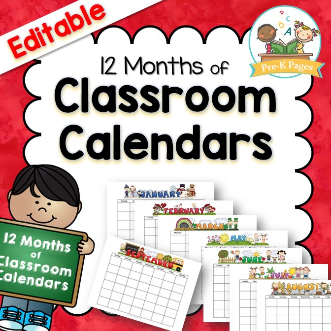 classroom calendars pre k pages. Black Bedroom Furniture Sets. Home Design Ideas